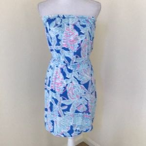 Lilly Pulitzer XS blue combo strapless dress